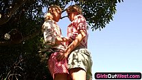 Girls Out West - Skinny blonde lesbians in the backyard thumbnail