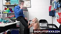 Naughty sexy blonde thief Adira Allure gets turned on and fucks the security guard to avoid jail