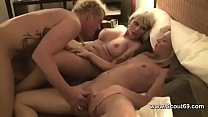 German Threesome in Hotel - Men with Big Dick Fuck Two Hot Teens
