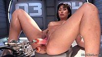 Asian hottie fucks dp machine