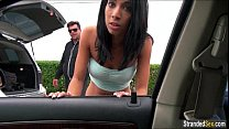 Busty teen Mia Hurley hitches for some gas but gets cum