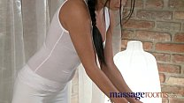 Massage Rooms Innocent and cute black haired beauty rides both guys hard صورة
