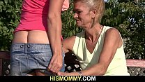 His old mom is licking and toying his GF's pussy