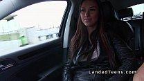 Beautiful busty Euro teen bangs in car pov Image