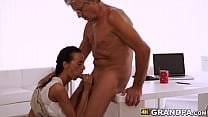 Tender young babe blows and gets doggystyled by...