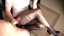 Amateur Teen Step Sis Handjob and Cum on Her Pantyhose