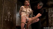 Gagged Blonde Sub Gets Pussy Vibrated