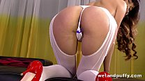 Petite Asian babe drills her naughty holes