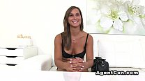 Babe undresses to underwear in casting