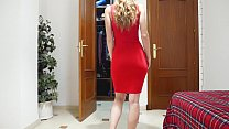 Trying On And Flashing In A Sexy Tight Red Dress