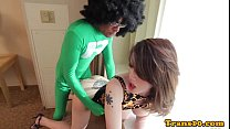 Bigtitted ladyboy pounded in tight butthole
