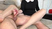Sexy Teacher in Pantyhose femdom Handjob - Foot fetish