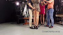Two amateur babes partying in foursome in tv studio