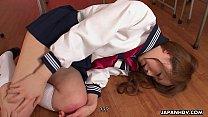 Aroused Asian schoolgirl sucking on the teachers hard dick