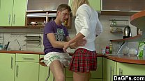 Blondie school girl tries anal sex for the firs...
