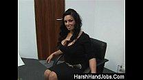 Lady Boss gives subordinate a harsh handjob
