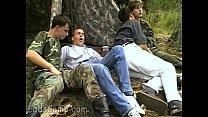 Lewd military guys seduce cute civil boys outdoors