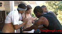 Hot teen babe Sasha Swift interracial gangbang outdoors
