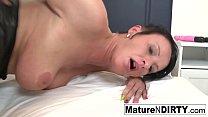 Brunette mature's ass is so tight he cums insid...