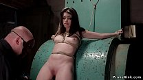 Petite slave is tied and tormented thumbnail