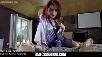 Lola Fae squirts for her stepdaddy then plays with his cum after pleasuring him