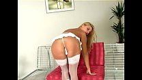 Pretty blonde rubs her pussy in boots and stockings Preview