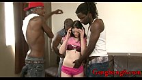 Tight teen ass banged by big black cocks on the couch preview image