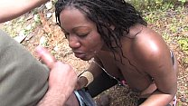 Bigtits black slut with big ass outdoor pussy fucking Image