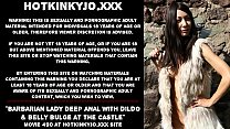 Barbarian lady deep anal fucking with dildo & belly bulge at the castle