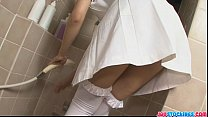Sexy Asian nurse in tight white pantyhose playing with her wet snatch