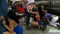 Rachel Starr and Pornstars take over Mechanics porn image