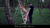 Pierced big tits slut humiliation fuck in bondage forest