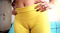 Big Deep Cameltoe Slut Has Big Round Ass In Tight Yellow Yoga Pants