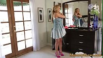 Busty stepmom fingering her les stepdaughter