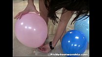 Size 9 Bare Foot College girls plays with Balloons