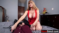 Tipsy grannny comes to step grandson for sex