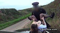 Brunette amateur bangs cop on the bonnet