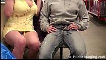 Stella Fox PUBLIC sex gang bang threesome at a subway train Preview