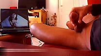 handjob in front of Xvideos with a good cumshot