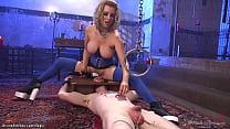 Blonde dom anal fucks man with machine