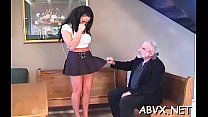 Babe gets man to roughly stimulate her pussy in...