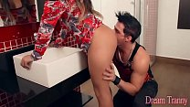 Shemale Beatriz Velmont bangs her guy and eats his cum