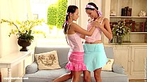 Hot brunettes Deny and Devin go down on each other on Sapphic Erotica