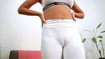 Super Puffy Cameltoe Busty Blonde Working out In Tight White Leggings