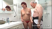 Grandpa watches a young couple before getting their cock sucked in the bathroom