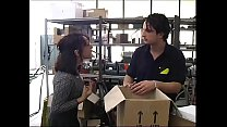 Sexy secretary in a warehouse brutally fucked by workers!