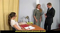 Humiliating nude job interview for shy blonde girl Image