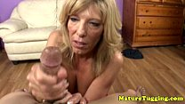 Jacking off loving grannie gives tugjob