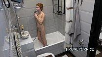 Redhead teen Atisha - Hidden cam in the shower
