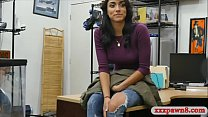 Pretty woman drilled by pervy pawn man at the p...